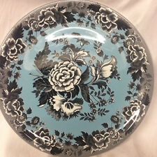 """SPODE BLUE ROOM GARDEN COLLECTION PIZZA CHOP PLATE 12 3/4"""" BLACK POPPY ON BLUE"""