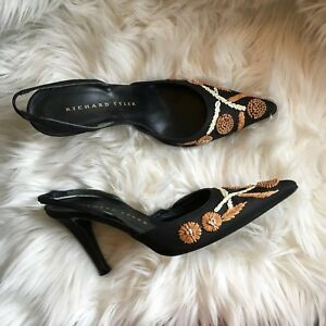 richard tyler shoes 7 black floral embroidered slingbacks italy - size 7