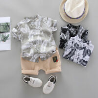Toddler Baby Kid Boy Short Sleeve Tops+Pants 2PCS Outfits Gentleman Clothes Set