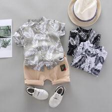 Toddler Baby Kid Boy Short Sleeve Tops+Pants 2PCS Outfits Gentleman Clothes Set