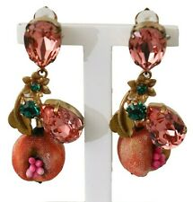 DOLCE & GABBANA Earrings Pink Crystal Pomegranate Gold Brass Clip-on