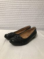 Softspots Women's Mary Jane Flats Black Leather Patent Trim Size 7.5 N