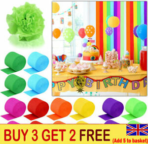 82FT Crepe Paper Party Streamers Roll Birthday Wedding  Hanging DIY Home Decor