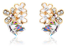 New Gold Changing Cube Sprouting Flowers Diamante Rhinestone Element Earrings