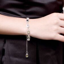 Classic Stone Crystal Charm Bracelet Square Zircon Silver Plated Jewelry