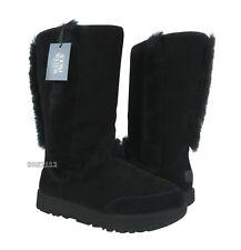 UGG Sundance Waterproof Black Suede Fur Boots Womens Size 9.5 *NIB*