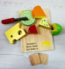 Personalised Birthday Toy Wooden Cheese board Toy Food Set Baby Toddler Gift