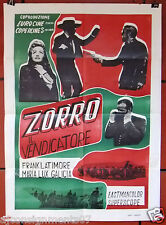 "ZORRO IL VENDICATORE {Frank Latimore} 39x27"" Original Italian Movie Poster 60s"