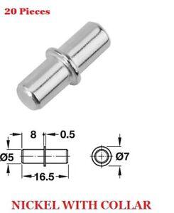 20 x 5mm Shelf Supports Kitchen Cabinet Unit Cupboard Pegs Pins Stud In Bracket
