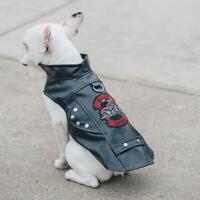 Biker Dawg Dog Black Motorcycle Jacket  -  XS-3XL
