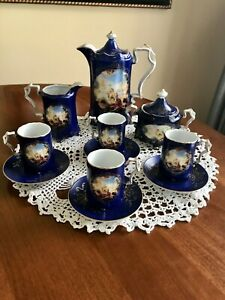 RS Prussia Porcelain Reproduction Coffee/Tea Set Lovers Scene Complete 13 Pieces