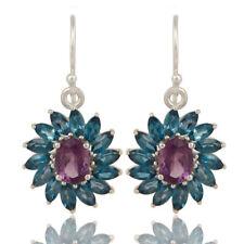 London Blue Topaz Floral Dangle Hook Earrings 925 Silver Gemstone Jewelry