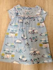 Mini Boden 2-3 years girl jersey cotton shift dress duck egg farmyard sheep