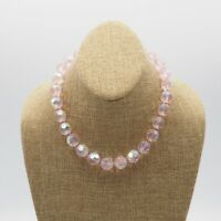 Vintage Large Faceted Pink Aurora Borealis Glass Bead Strand Necklace 16 Inch
