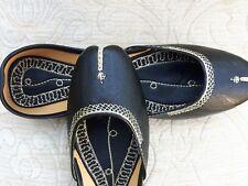 Negro Cuero señoras de la India Boda Khussa zapatos talla 6