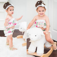 Newborn Baby Girls Off Shoulder Shirt Crop Top Shorts Pants Outfits Clothes Set