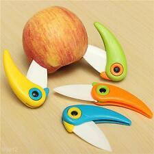 1X Ceramic Folding Fruit Knife Kitchen Cutlery Knives Outdoor Camping Bird Shape