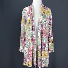 COLDWATER CREEK Sweater M Petite Pink Yellow Tan Mint Floral Open Front Cardigan