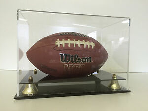 Football display case full size NFL NCAA 2-tier cut out UV Filtering memorabilia