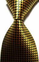 Hot! Classic Checks Gold Black JACQUARD WOVEN 100% Silk Men's Tie Necktie