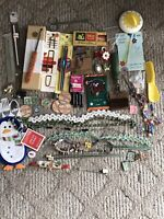 Vintage Junk Drawer Lot Costume Jewelry Penguin Kitchen Sewing Stamps Dairy Caps