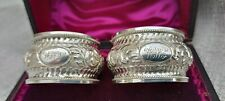 More details for romantic victorian silver napkin rings cased