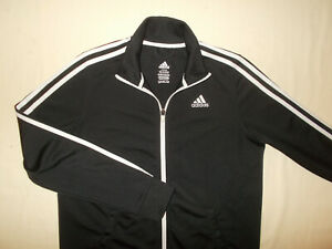 ADIDAS FULL ZIP BLACK W/WHITE STRIPES ATHLETIC JACKET BOYS LARGE 14-16 EXCELLENT