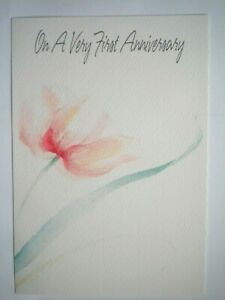 "Hallmark ~ ""ON A VERY FIRST ANNIVERSARY"" GREETING CARD + ENVELOPE"