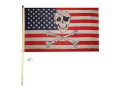 5' Wood Flag Pole Kit Wall Mount Bracket 3x5 Usa American Pirate Polyester Flag