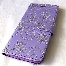 For iPhone 6 / 6S - Leather Card Wallet Pouch Case Cover Purple Glitter Flower