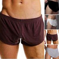 Men Split Solid Color Breathable Underwear Shorts Boxer Briefs Trunks/Underpants