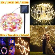 100-200 Luces LED Navideñas de Energía Solar Lámparas De Cadena Fiesta Casa Deco Jardín Al Aire Libre