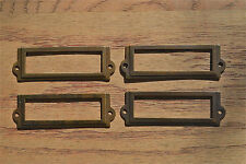 4 antiqued brass file cabinet label holder name plan chest map drawer LH1