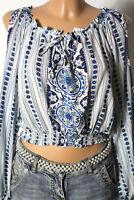 H&M Bluse Gr. 44 kurz blau-weiß Hippie Folklore Mieder Bluse mit Blumen Muster