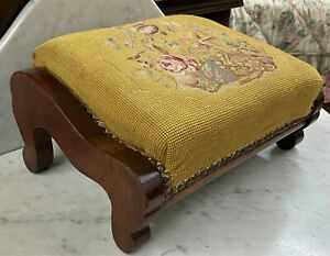 Superb Antique American Victorian Needlepoint Tapestry Carriage Foot Stool c1860