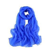 Long Silk Chiffon Scarf Solid Plain Blue Color SQL009