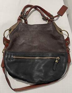 Oryany SELINA Colorblock Multicolor Leather Convertible Satchel Hobo Bag GREAT