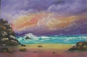 "Australian Oil Painting. Wave Break 20 x 30"" stretched canvas by Debra Lohrere"