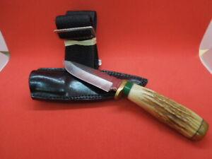 "KELGIN CUSTOM HUNTING KNIFE 9"" Long 4 3/4"" Tang Euro Elk Antler with Leg Sheath"