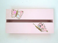Vtg 1950's pink metal tissue box holder painted butterflies