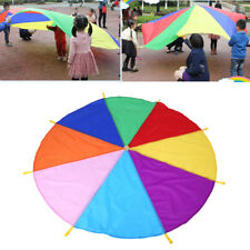 Multi-Colour 2M Kids Play Parachute 8 Handles Portable Outdoor Indoor Game Toy