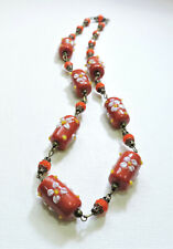 Vintage Red w/ White Flowers Lampwork Art Glass Bead Necklace My20Bn52