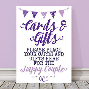 Purple & Lilac Bunting Wedding Cards & Gift Table Sign 3 FOR 2 (PL13)
