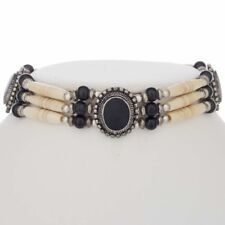 Handmade Hand Strung Classic Look Apache Indian Style Bone Choker Onyx Necklace