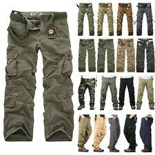 Mens Military Combat Pant Trousers Cargo Outdoor Hiking Work Pants Multi Pockets