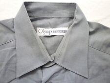 E7885 Olymp Tendenz Businesshemd Kombimanschette 42 grau meliert Unifarben Neuw.