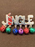 Christmas Brooch Jingle Bells Silver Tone Enamel Xmas Present Gift Pin Vintage