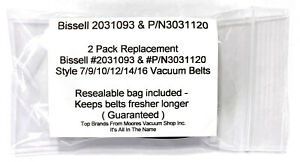Bissell #2031093 & #3031120 Style 7, 9, 10, 12, 14 & 16 Drive Belts 2PK
