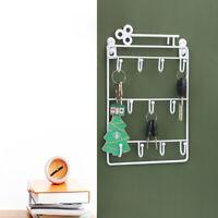 Iron Wall Mount 11 Hangers Hooks Creative Key Holder Home Decor Hat Storage Rack