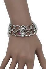 Women Silver Metal Chain Fashion Jewelry Skeleton Skull Pink Rose Flower Bangle